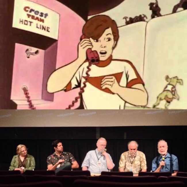 @jjsedelmaier hosts the NY animated ads panel with Joe Burrascano, Howard Beckerman, Emily Hubley, Doug Crane and Crest's Cavity Creeps!